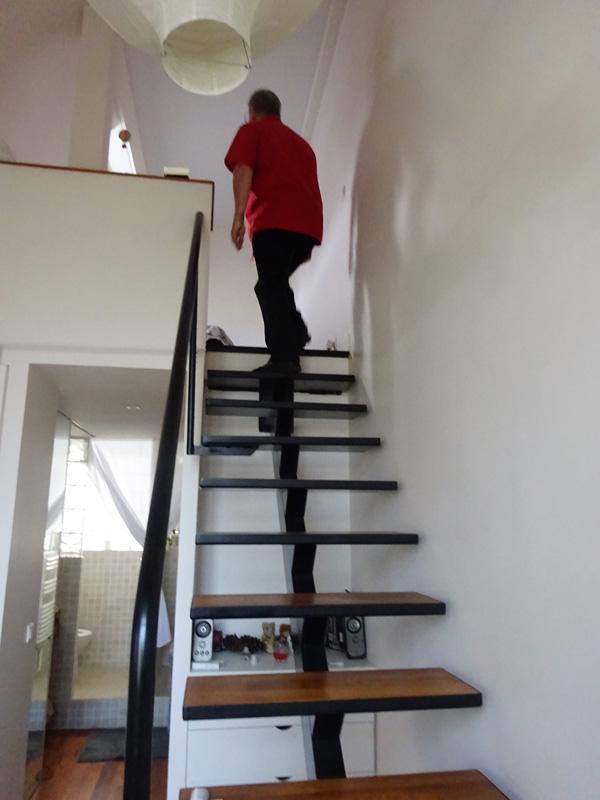 Escalier acier et marches en bois